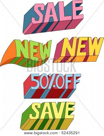 Text Illustration of Bargain Related Words with Different Designs