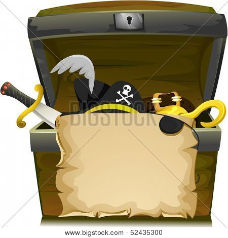 Illustration of Treasure Chest with an Empty Scroll, a Scimitar, a Pirate Hat, a Buckle, and a Hook Inside