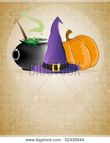 Witch Hat, Boiling Cauldron And Pumpkin
