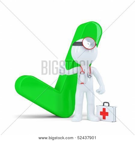 3D Doctor With Green Checkmark