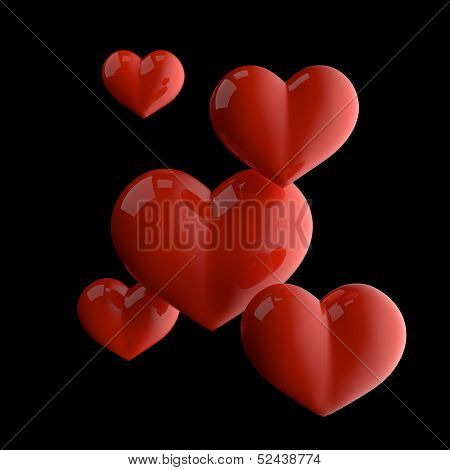 five red shinny hearts