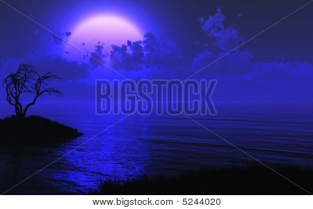 Mysterious Moonlit Sea Background