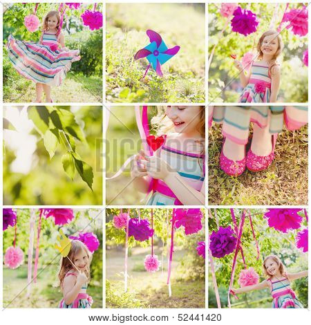 girl celebrating birthday in park. collage