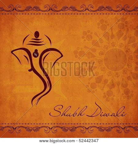 Indian festival of lights, Shubh Diwali (Happy Diwali) greeting card with creative illustration of hindu mythology Lord Ganesha on floral decorative grungy orange background.l