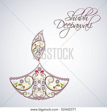 Indian festival of lights, Shubh Deepawali (Happy Deepawali) background with illustration floral decorated oil lit lamp on grey background.