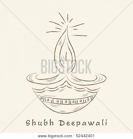 Indian festival of lights, Happy Diwali greeting card with illustration of oil lit lamp on abstract background