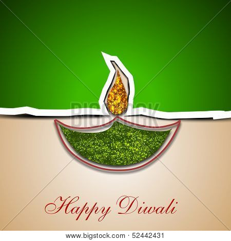 Indian festival of lights, Happy Deepawali greeting card with floral decorated illuminated oil lit lamp.