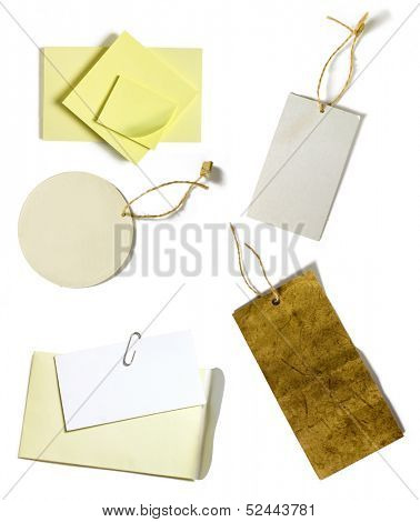 yellow blank post-it sheets and blank paper tags