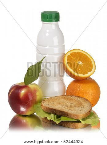 school lunch apple milk sandwich and orange