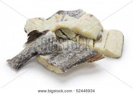 dried salted cod fish isolated on white background,bacalao,bacalhau