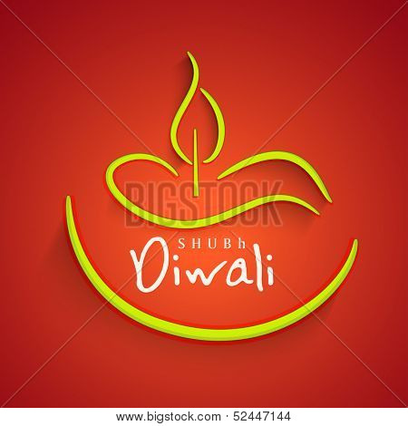 Indian festival of lights, Shubh Diwali (Happy Diwali) greeting card with stylish illustration of oil lit lamp on bright red background.