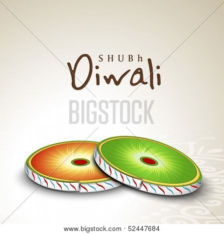 Indian festival of lights, Shubh Diwali (Happy Diwali) greeting card with colorful firecrackers on abstract background.