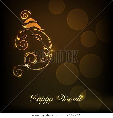 Shiny illustration of Hindu mythology Lord Ganesha on occasion of Indian festival of lights Happy Diwali.