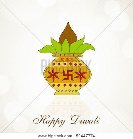 Indian festival of lights, Happy Diwali background with mangal kalash on shiny abstract background.
