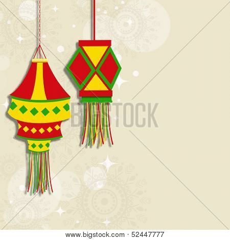 Indian festival of lights, Happy Diwali concept on floral decorated background, with colorful hanging lamps.