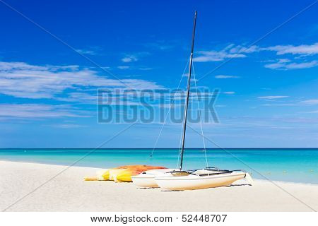 Sailing boats at the famous Varadero beach , Caribbean sea in Cuba