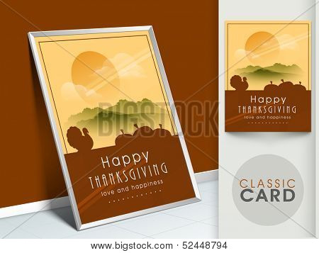 Happy Thanksgiving vintage greeting card with silhouette of turkey bird on morning nature background.