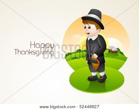 Happy little boy in pilgrim hat holding a basket full of fruits and fruits on morning nature background, can be use as flyer, banner or poster.