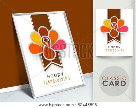 Happy Thanksgiving vintage greeting card with cute happy cartoon of turkey bird.