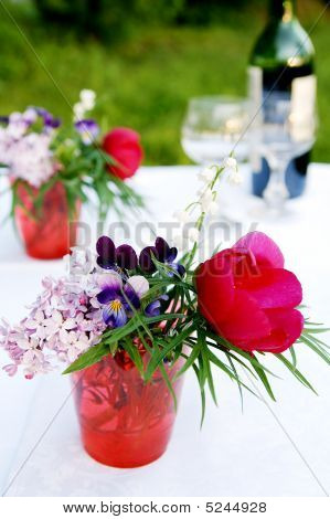 A Bunch Of Summer Flowers For Picnic