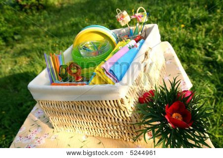 Color Summer Picnic Accessories In A Basket