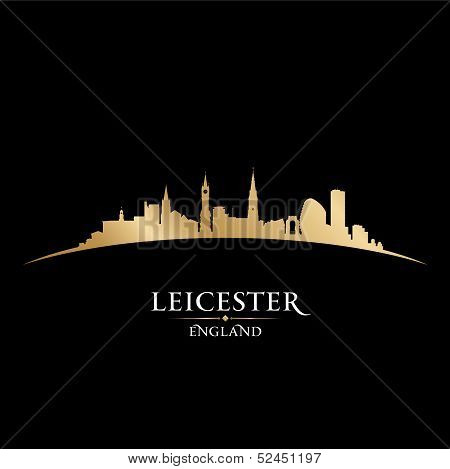 Leicester England City Skyline Silhouette Black Background