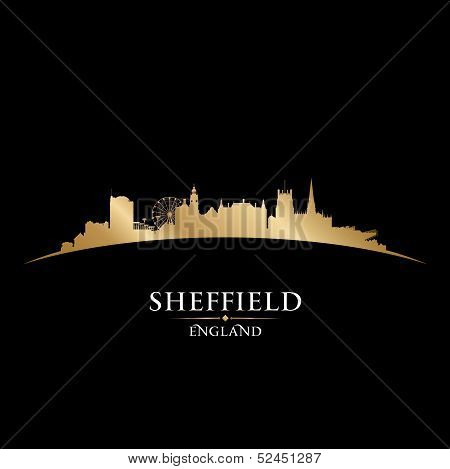 Sheffield England City Skyline Silhouette Black Background