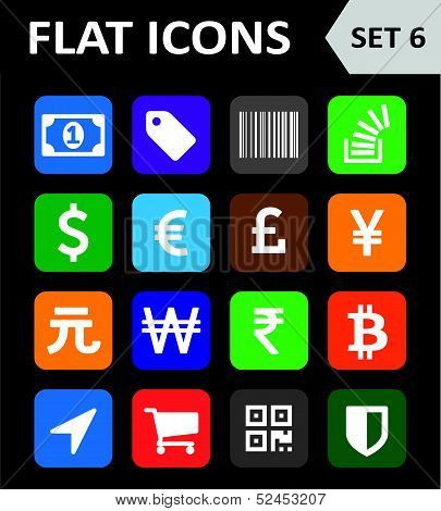 Universal Colorful Flat Icons. Set 6.