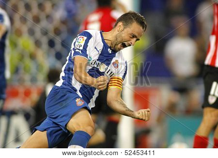 BARCELONA - SEP, 23: Sergio Garcia of RCD Espanyol celebrating goal during a Spanish League match against Bilbao at the Estadi Cornella on September 23, 2013 in Barcelona, Spain