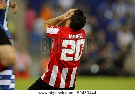 BARCELONA - SEP, 23: Aritz Aduriz of Athletic Bilbao in action during a Spanish League match between RCD Espanyol vs Bilbao at the Estadi Cornella on September 23, 2013 in Barcelona, Spain