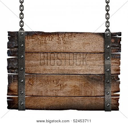 old burnt wood sign board on chain