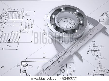 Caliper and bearing in the drawing