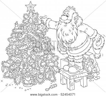 Santa decorates a Christmas tree