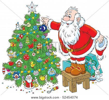 Santa decorating a Christmas tree