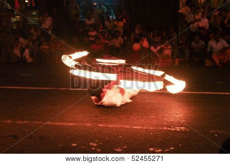 Fire Artists Participate The Festival Pera Hera In Candy