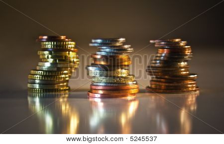 Stacks Of Coins: Us, Uk, Eu