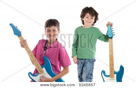Two Children Whit Electric Guitar