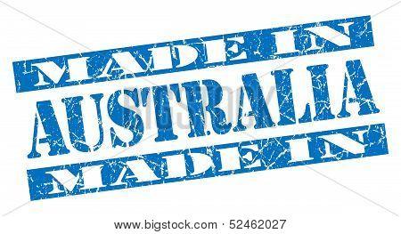Made In Australia Grunge Blue Stamp