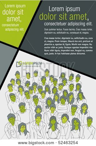 Green template for advertising brochure with people's faces