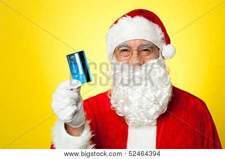 Aged Man In Santa Clothing Ready To Shop