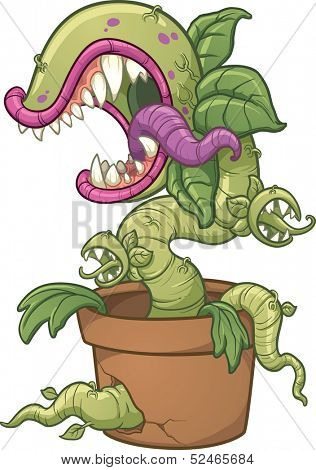 Carnivorous plant. Vector clip art illustration with simple gradients. All in a single layer.