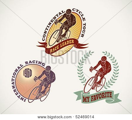 Set of bicycle race labels made in vintage style. Editable vector illustration.