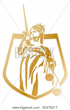 Lady Justice Coat of Arms Vector Symbol