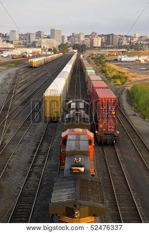 Railroad Yards Boxcars Cargo Containers Train Tracks Downtown Tacoma Washington