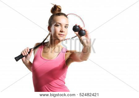 athletic woman with squash racket