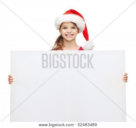 christmas, x-mas, people, advertisement, sale concept - happy woman in santa helper hat with blank white board