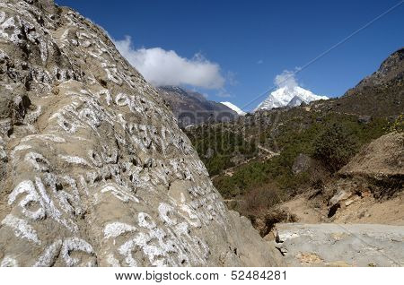 Traditional Buddhist Stones With Sacred Mantras ,himalayas,eastern Nepal, Everest Region