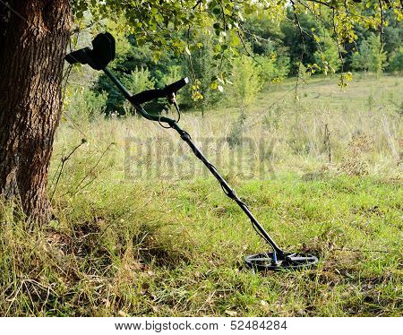 Metal Detector In The Forest,equipment for treasure hunting