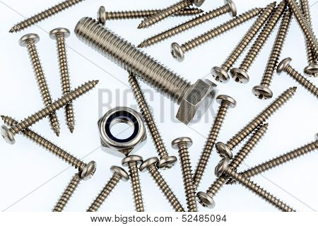 various screws in the workshop in a commercial operation.