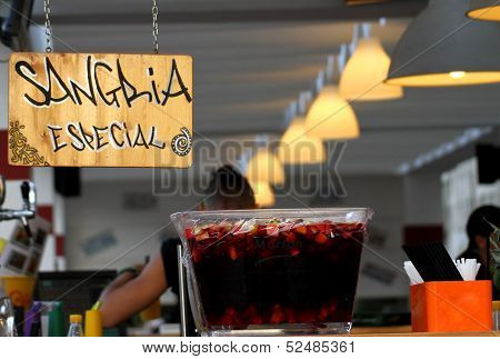 Trendy Bar With Fresh Sangria On Offer